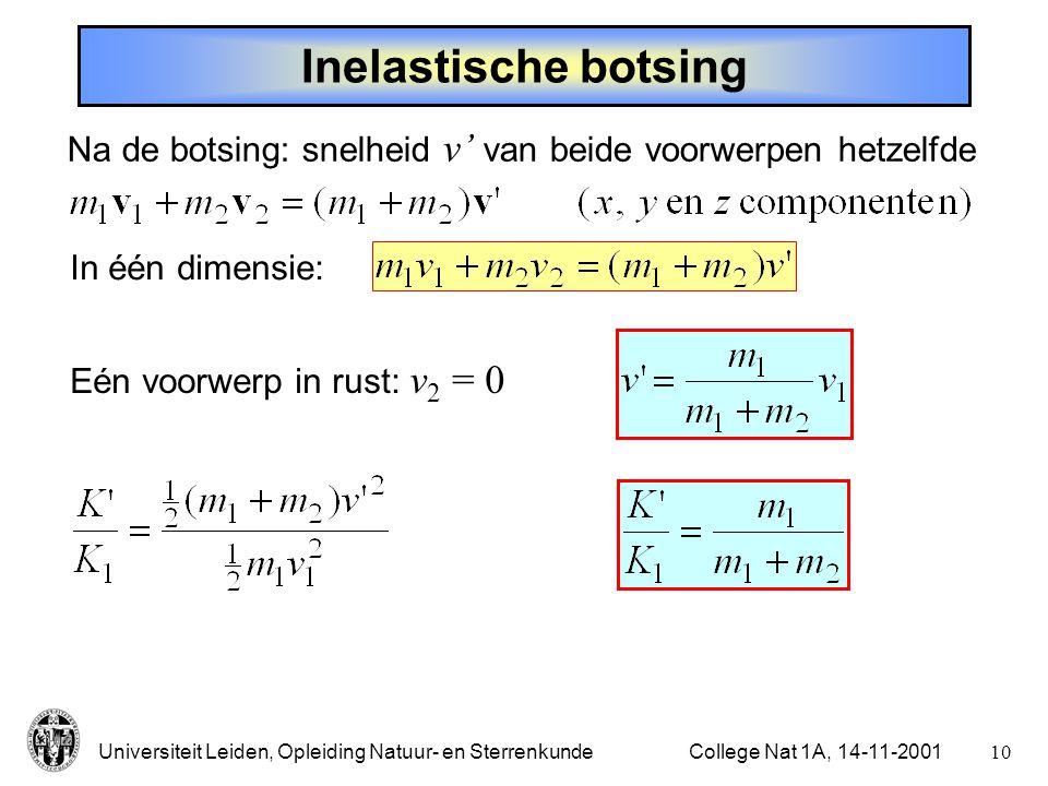 Inelastische botsing Na de botsing: snelheid v' van beide voorwerpen hetzelfde. In één dimensie: Eén voorwerp in rust: v2 = 0.