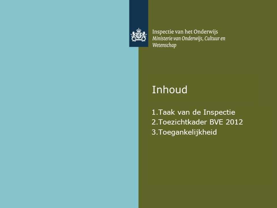 Taak van de Inspectie Toezichtkader BVE 2012 Toegankelijkheid