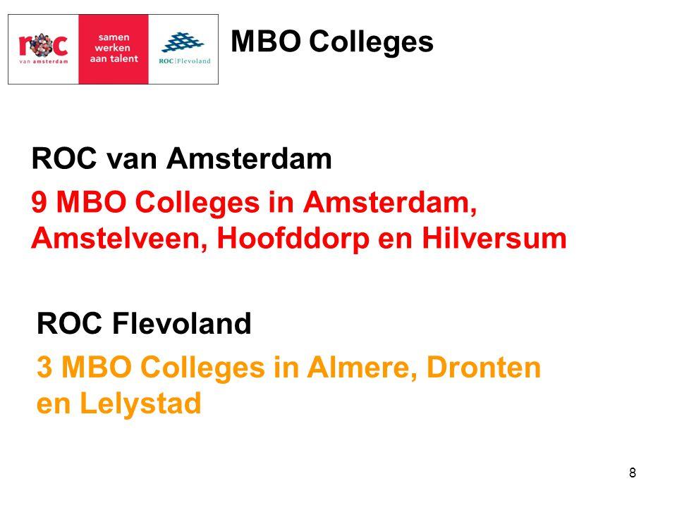 MBO Colleges ROC van Amsterdam 9 MBO Colleges in Amsterdam, Amstelveen, Hoofddorp en Hilversum ROC Flevoland.