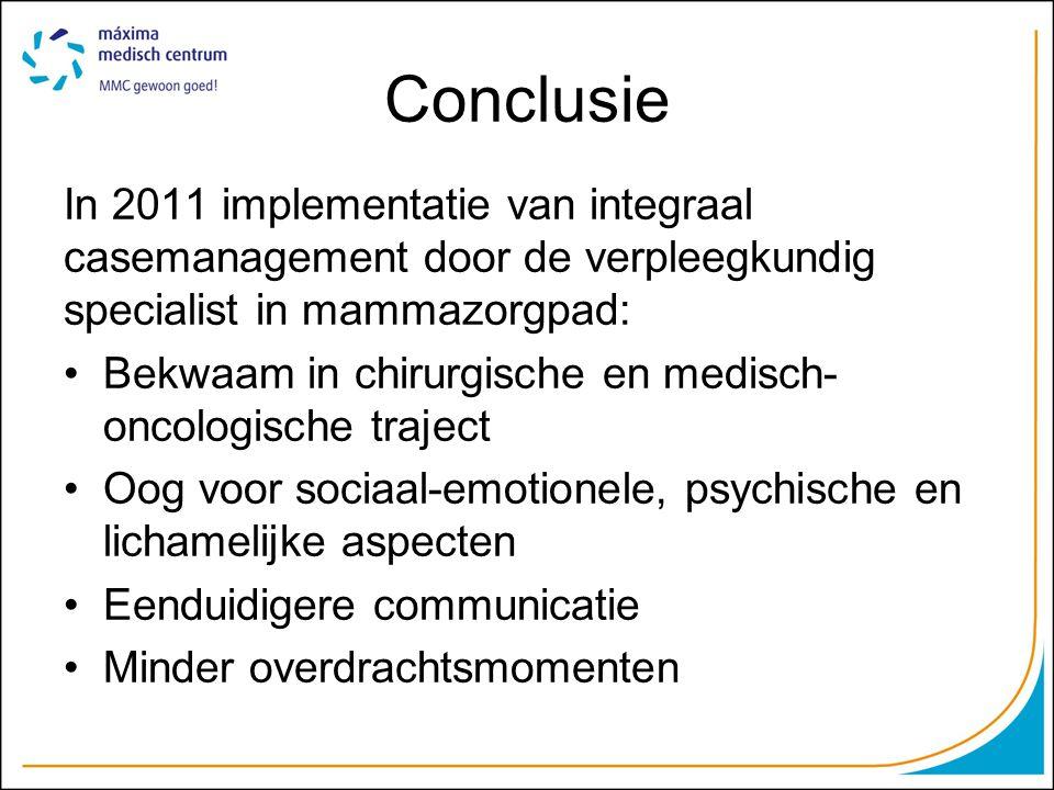 Conclusie In 2011 implementatie van integraal casemanagement door de verpleegkundig specialist in mammazorgpad:
