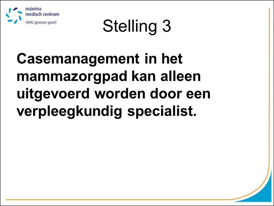 Stelling 3 Casemanagement in het mammazorgpad kan alleen uitgevoerd worden door een verpleegkundig specialist.