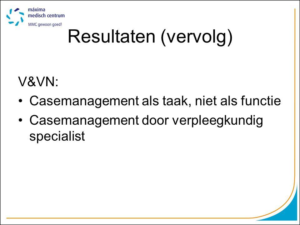 Resultaten (vervolg) V&VN: Casemanagement als taak, niet als functie