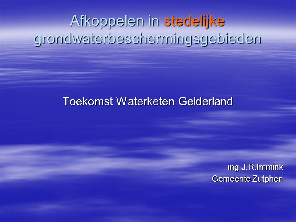 Afkoppelen in stedelijke grondwaterbeschermingsgebieden