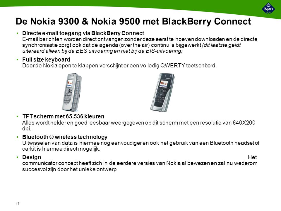 USP's Nokia 9300 & Nokia 9500 Nokia 9300/9500 BlackBerry Connect