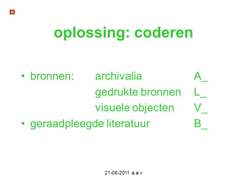 oplossing: coderen bronnen: archivalia A_ gedrukte bronnen L_