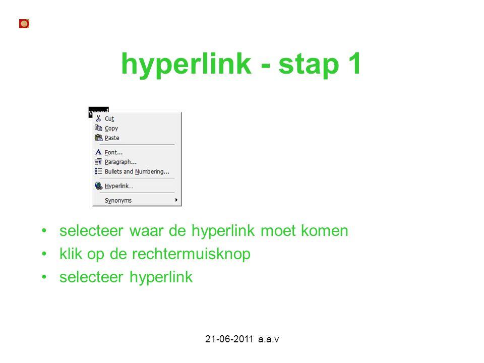 hyperlink - stap 1 selecteer waar de hyperlink moet komen