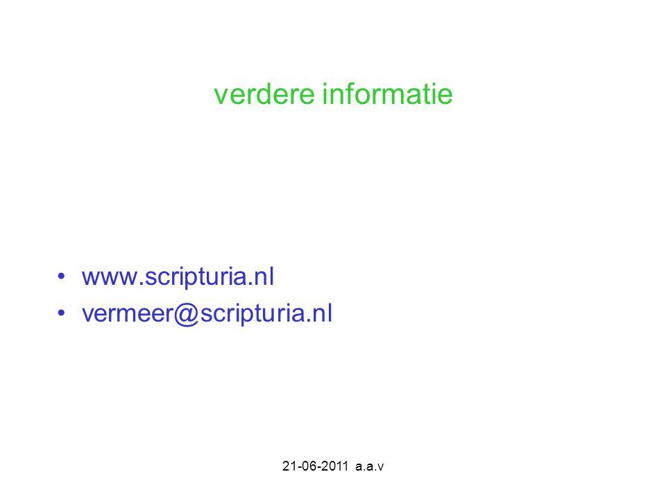 verdere informatie www.scripturia.nl vermeer@scripturia.nl