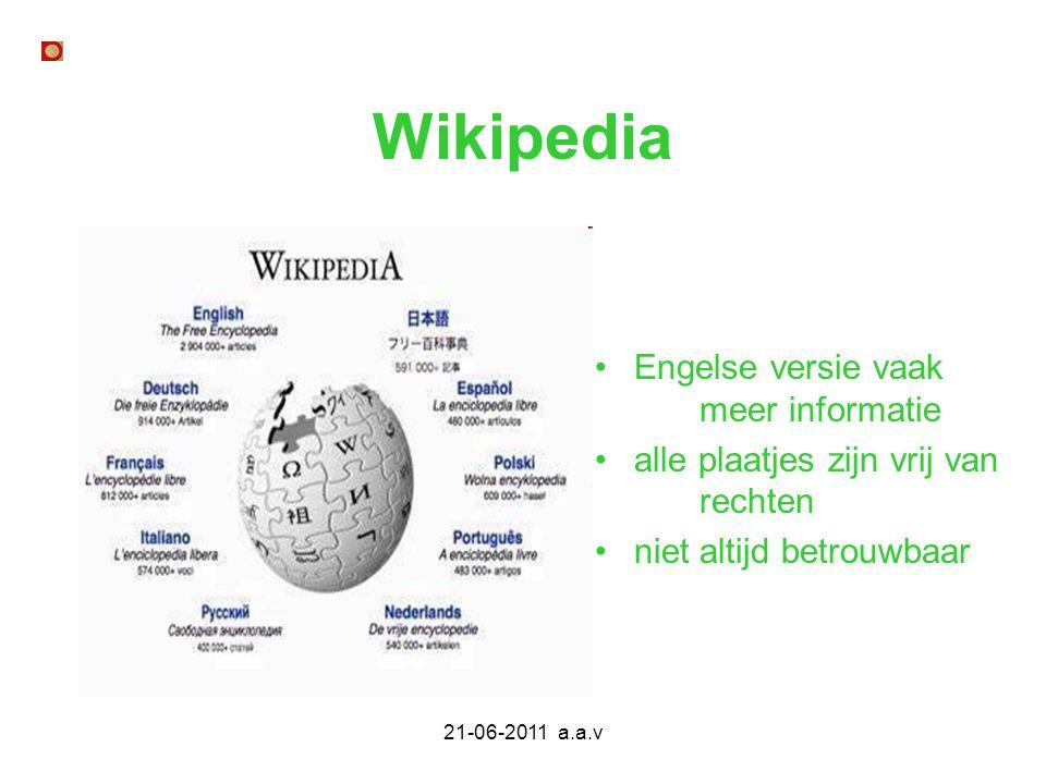 Wikipedia Engelse versie vaak meer informatie