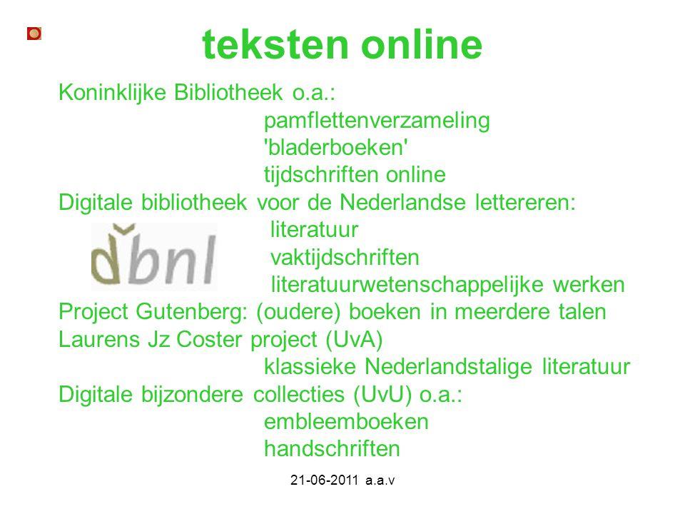 teksten online Koninklijke Bibliotheek o.a.: pamflettenverzameling
