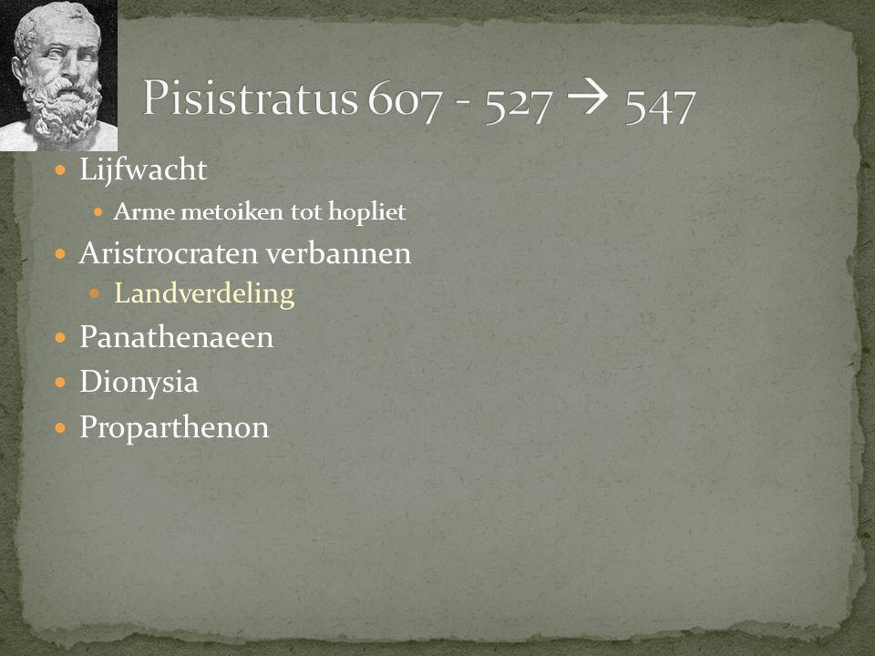 Pisistratus 607 - 527  547 Lijfwacht Aristrocraten verbannen