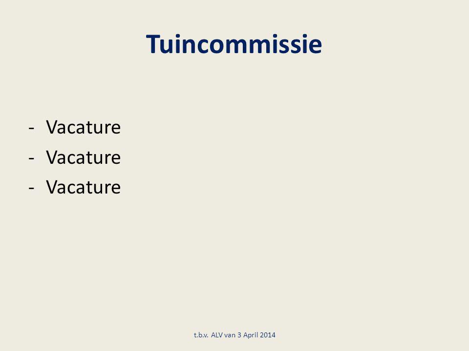 Tuincommissie Vacature t.b.v. ALV van 3 April 2014