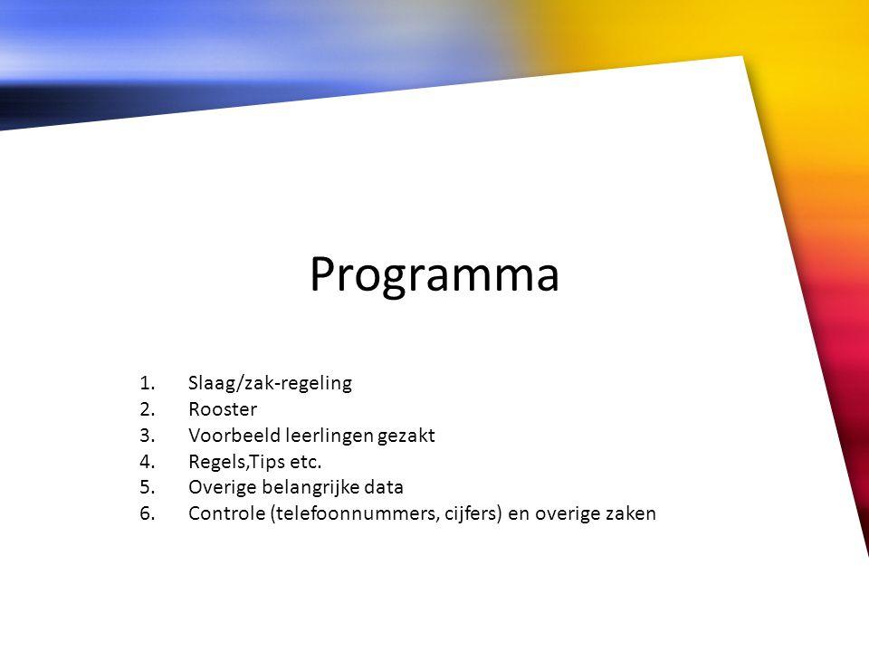 Programma Slaag/zak-regeling Rooster Voorbeeld leerlingen gezakt