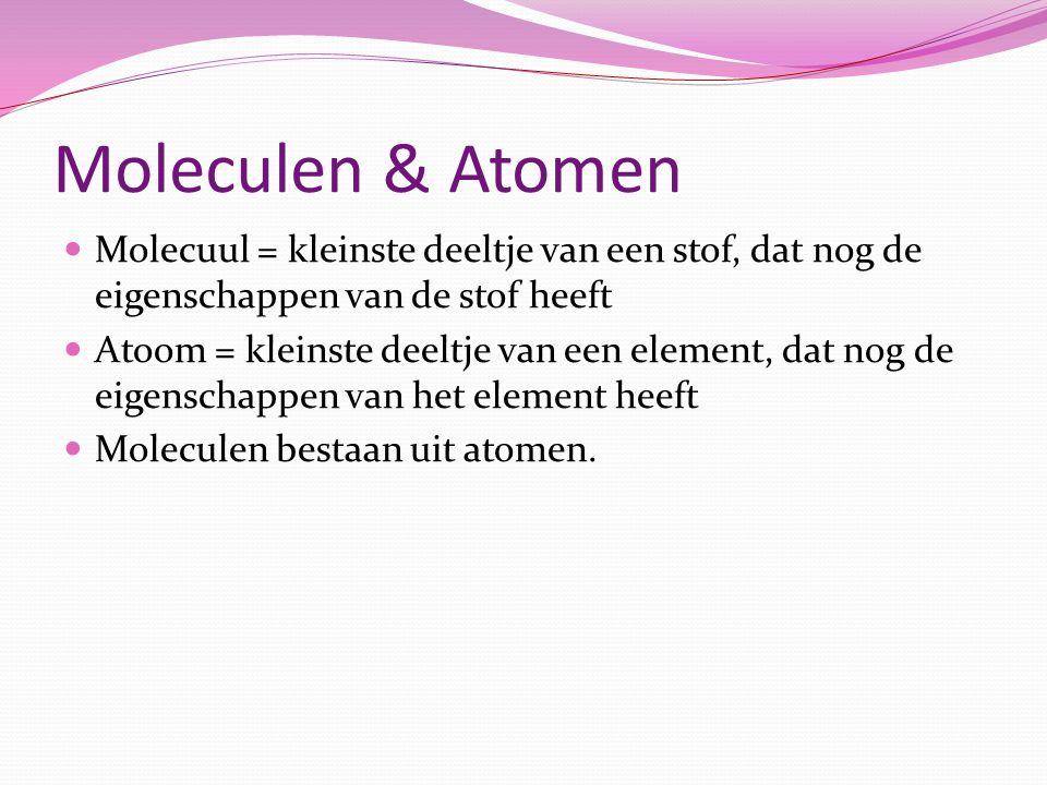 Moleculen & Atomen Molecuul = kleinste deeltje van een stof, dat nog de eigenschappen van de stof heeft.