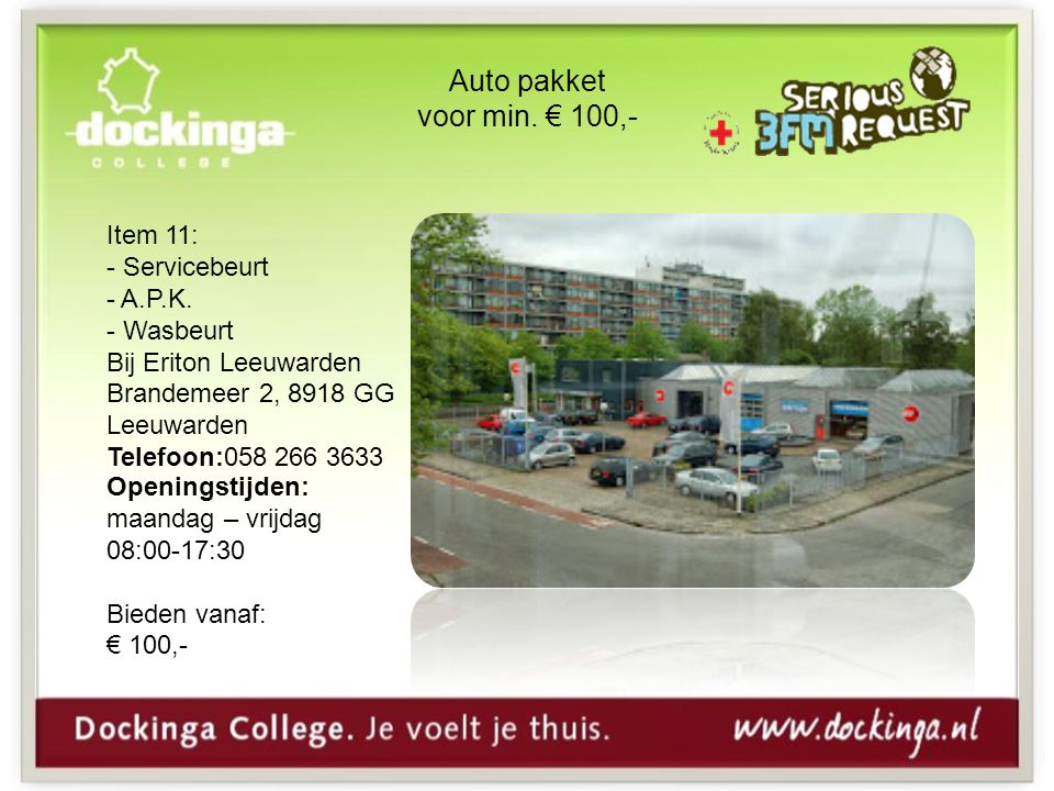 Auto pakket voor min. € 100,- Item 11: Servicebeurt A.P.K. Wasbeurt