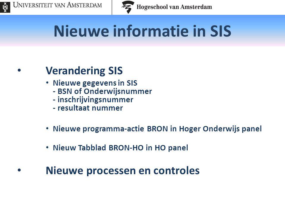 Nieuwe informatie in SIS