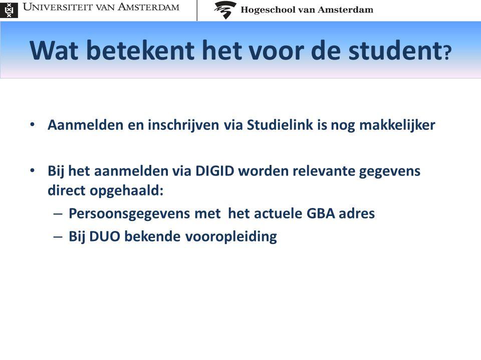 Wat betekent het voor de student