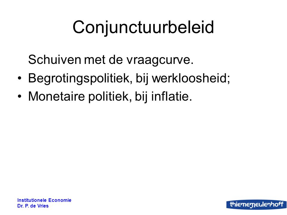 Conjunctuurbeleid Schuiven met de vraagcurve.