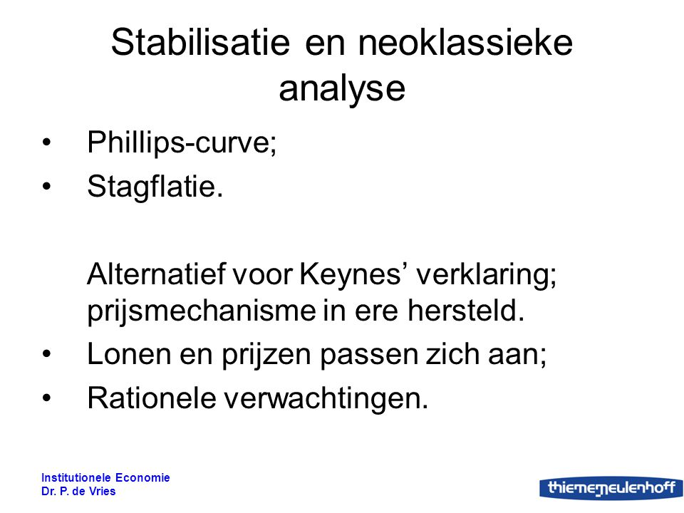 Stabilisatie en neoklassieke analyse