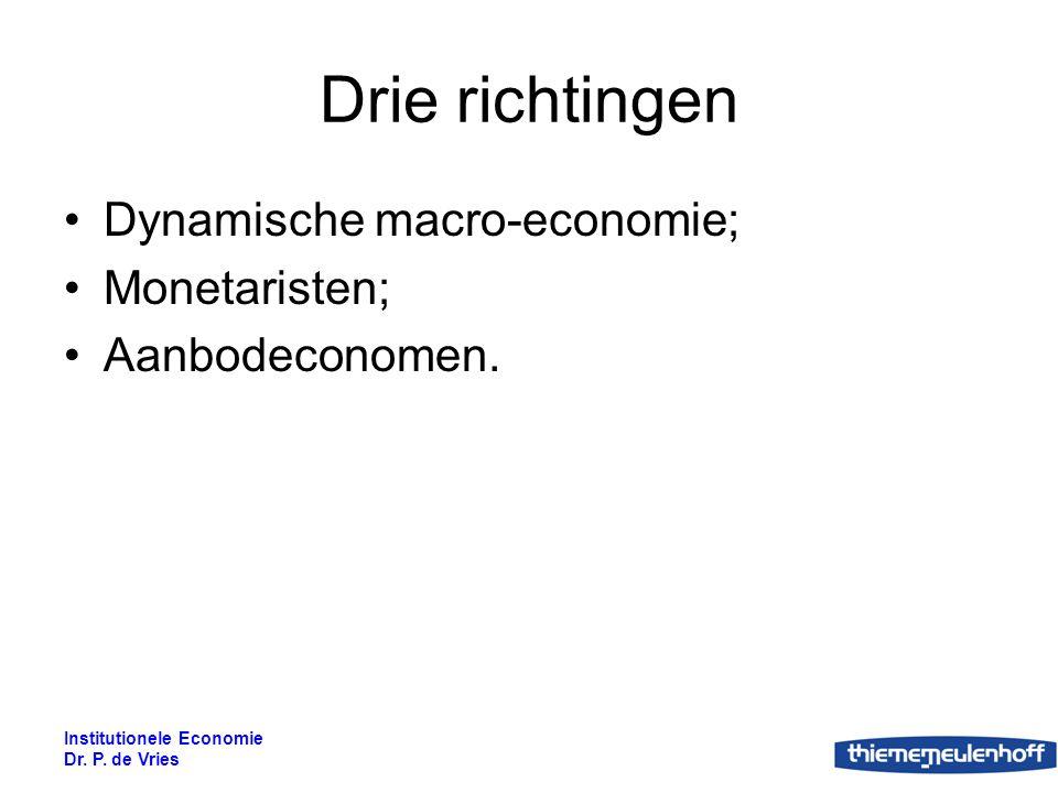 Drie richtingen Dynamische macro-economie; Monetaristen;