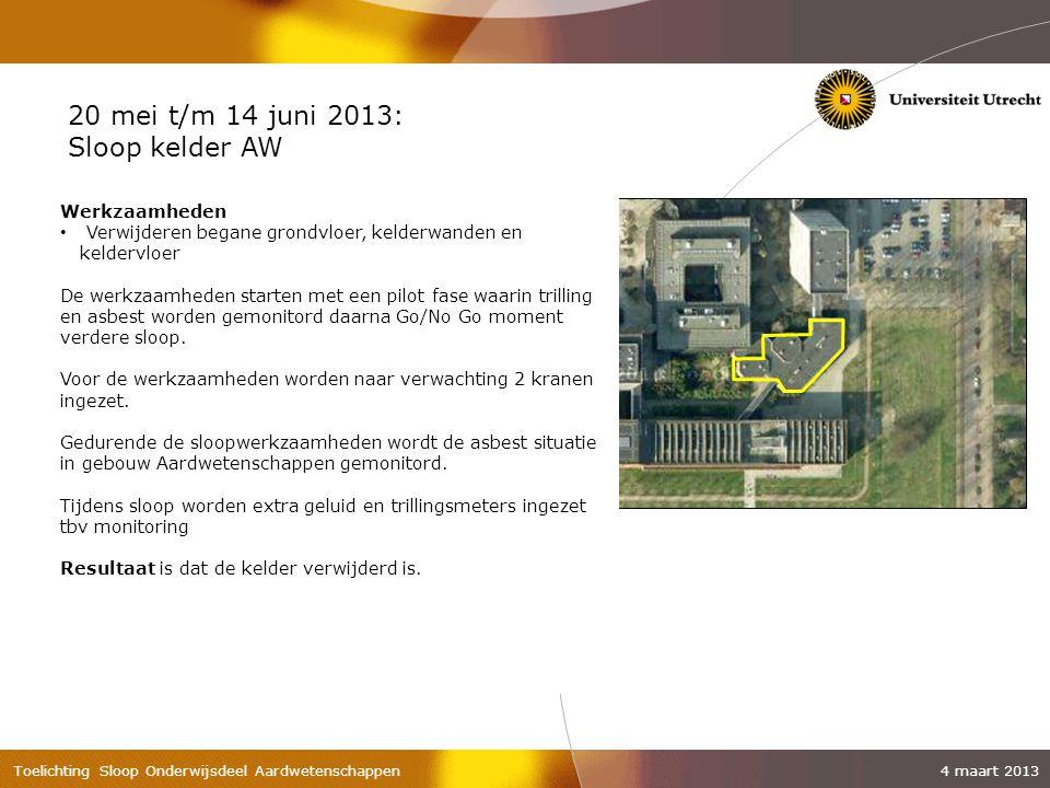 20 mei t/m 14 juni 2013: Sloop kelder AW Werkzaamheden