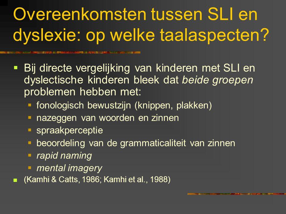 Overeenkomsten tussen SLI en dyslexie: op welke taalaspecten
