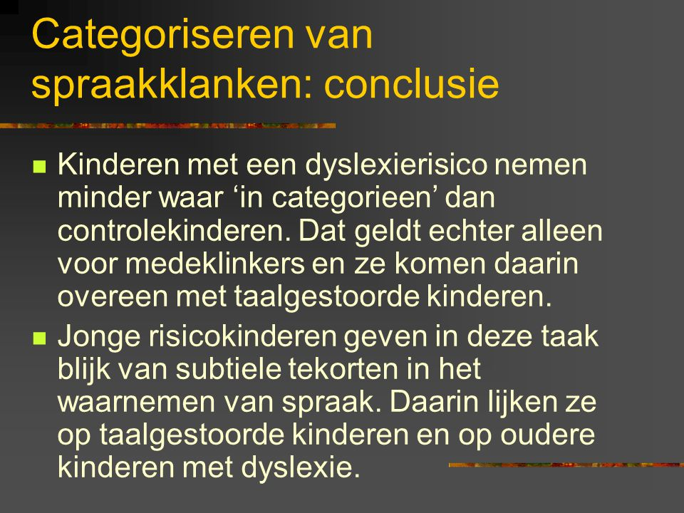Categoriseren van spraakklanken: conclusie