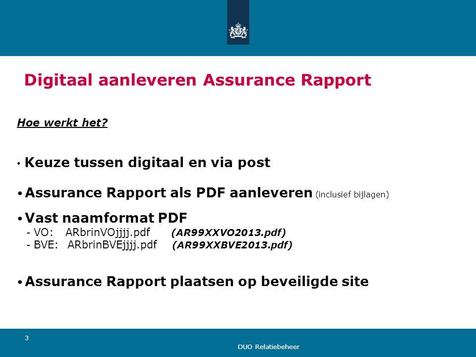 Digitaal aanleveren Assurance Rapport