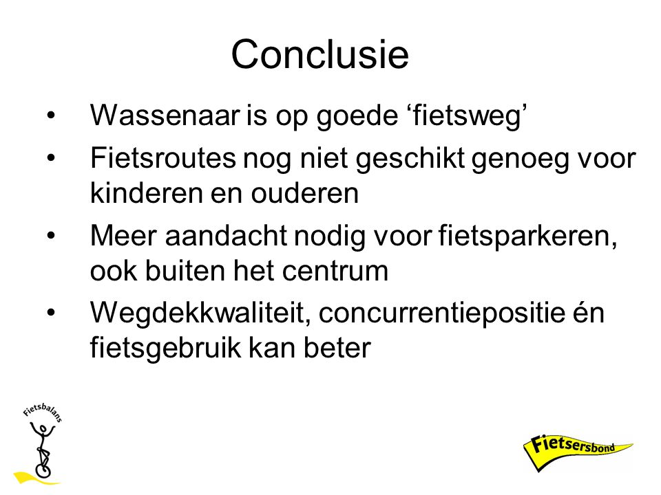 Conclusie Wassenaar is op goede 'fietsweg'