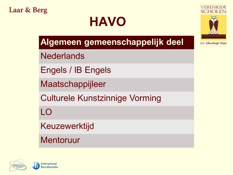 HAVO Algemeen gemeenschappelijk deel Nederlands Engels / IB Engels