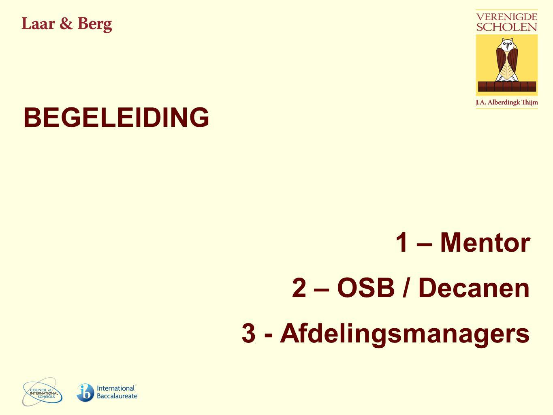 1 – Mentor 2 – OSB / Decanen 3 - Afdelingsmanagers