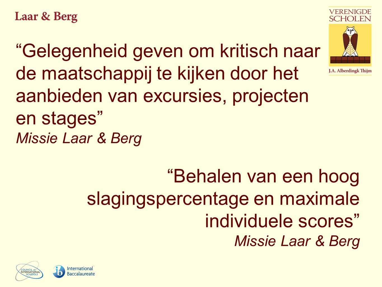 Gelegenheid geven om kritisch naar de maatschappij te kijken door het aanbieden van excursies, projecten en stages Missie Laar & Berg