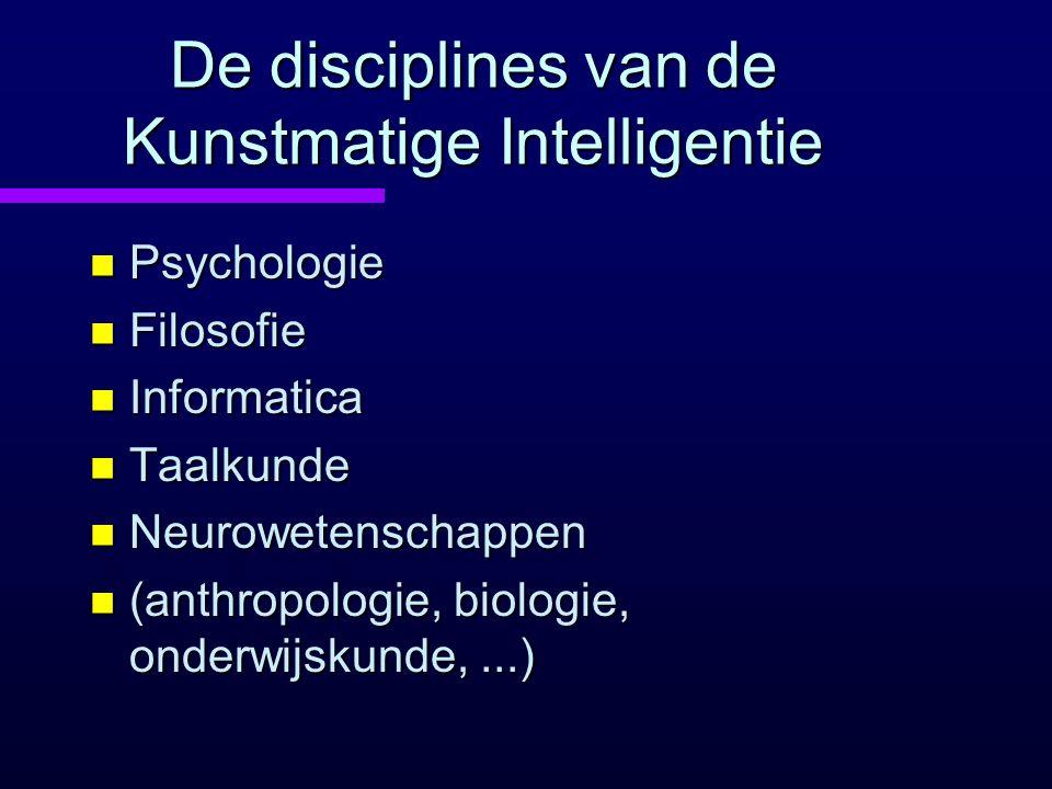 De disciplines van de Kunstmatige Intelligentie