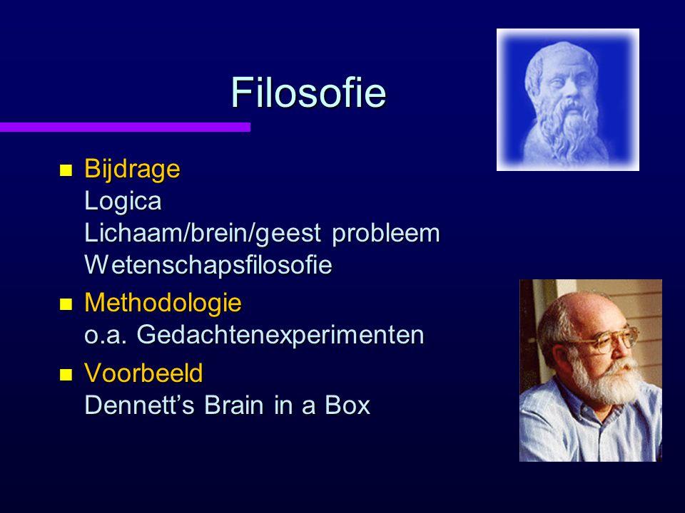 Filosofie Bijdrage Logica Lichaam/brein/geest probleem Wetenschapsfilosofie. Methodologie o.a. Gedachtenexperimenten.