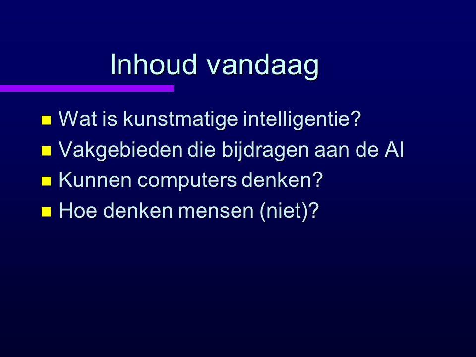 Inhoud vandaag Wat is kunstmatige intelligentie