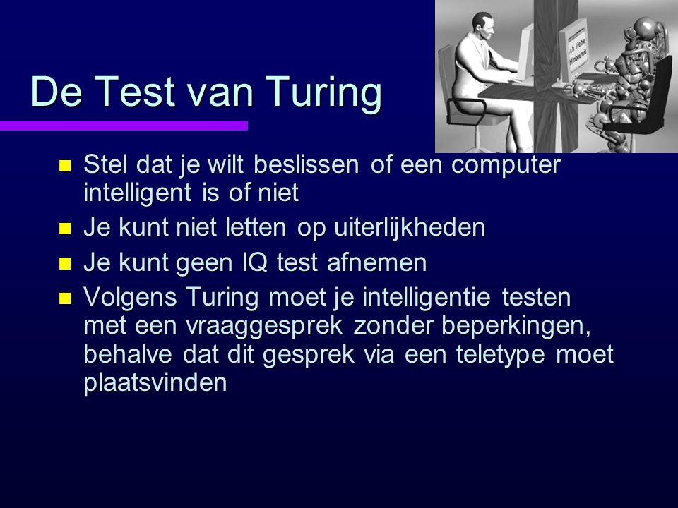 De Test van Turing Stel dat je wilt beslissen of een computer intelligent is of niet. Je kunt niet letten op uiterlijkheden.