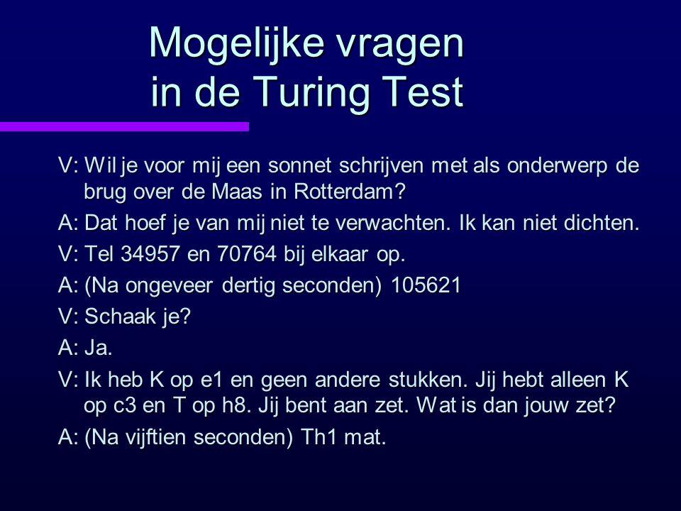 Mogelijke vragen in de Turing Test