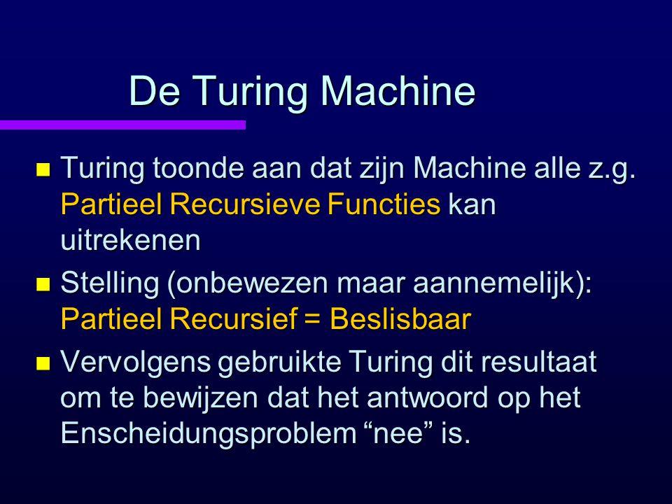 De Turing Machine Turing toonde aan dat zijn Machine alle z.g. Partieel Recursieve Functies kan uitrekenen.