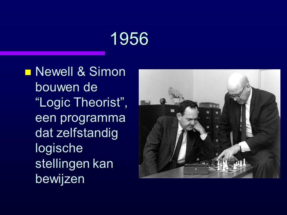 1956 Newell & Simon bouwen de Logic Theorist , een programma dat zelfstandig logische stellingen kan bewijzen.