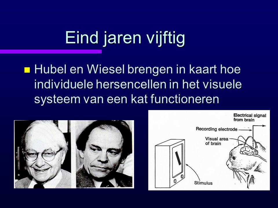 Eind jaren vijftig Hubel en Wiesel brengen in kaart hoe individuele hersencellen in het visuele systeem van een kat functioneren.