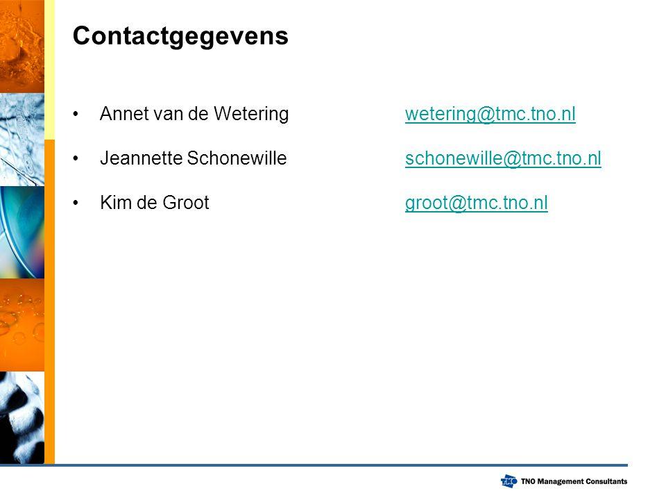 Contactgegevens Annet van de Wetering wetering@tmc.tno.nl