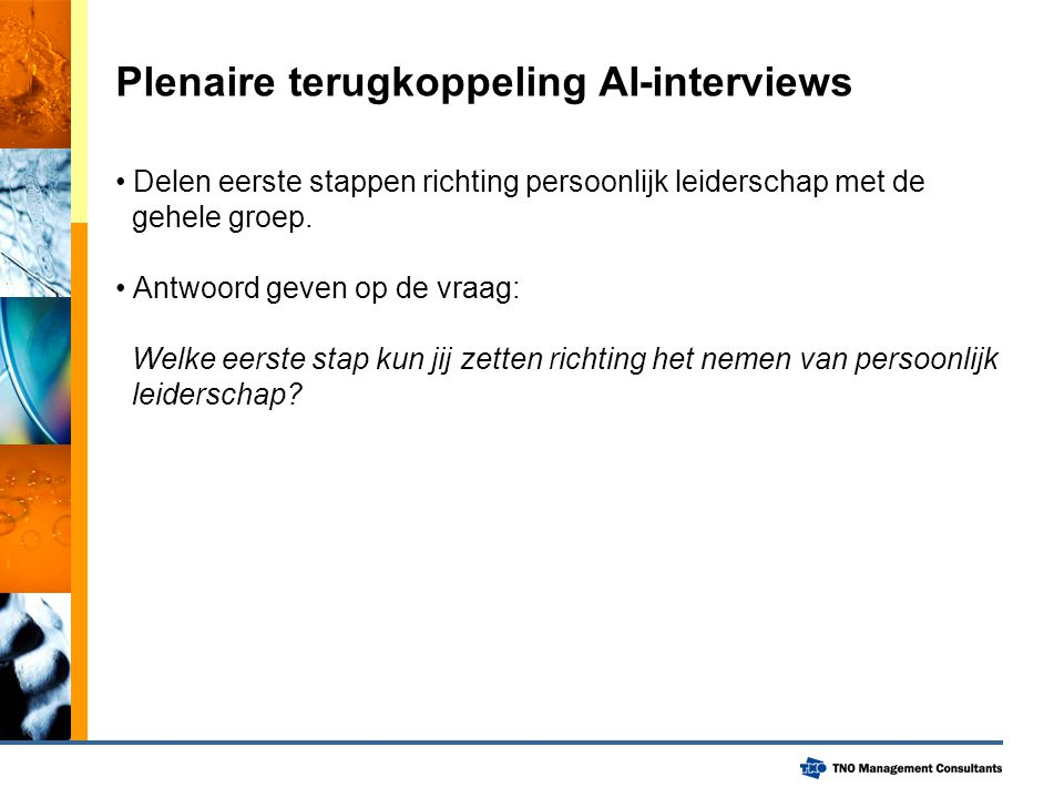Plenaire terugkoppeling AI-interviews