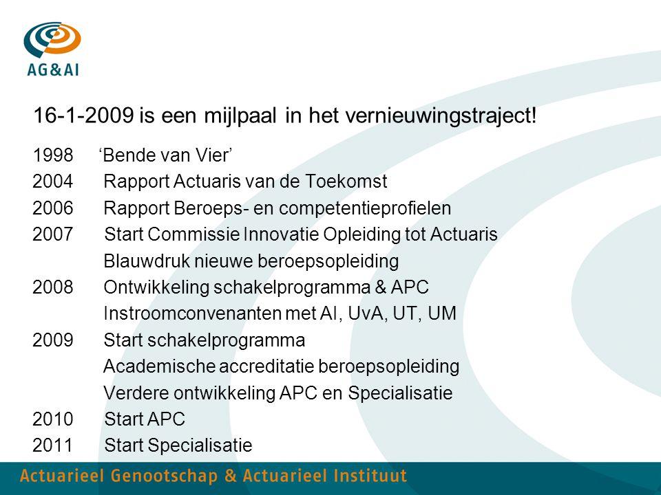 16-1-2009 is een mijlpaal in het vernieuwingstraject!