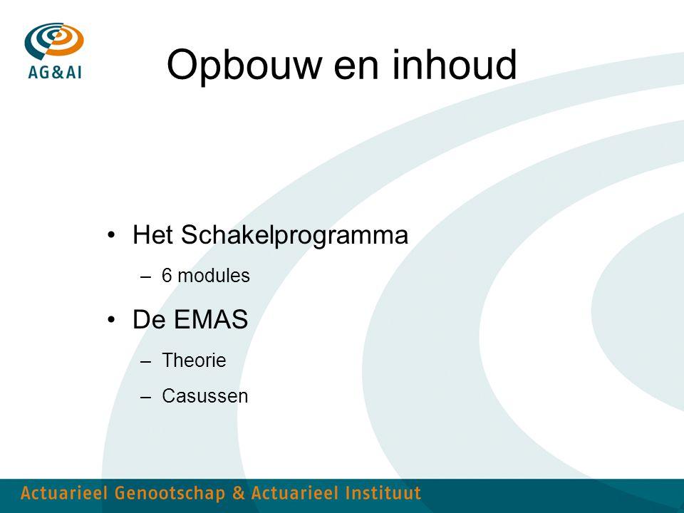 Opbouw en inhoud Het Schakelprogramma De EMAS 6 modules Theorie