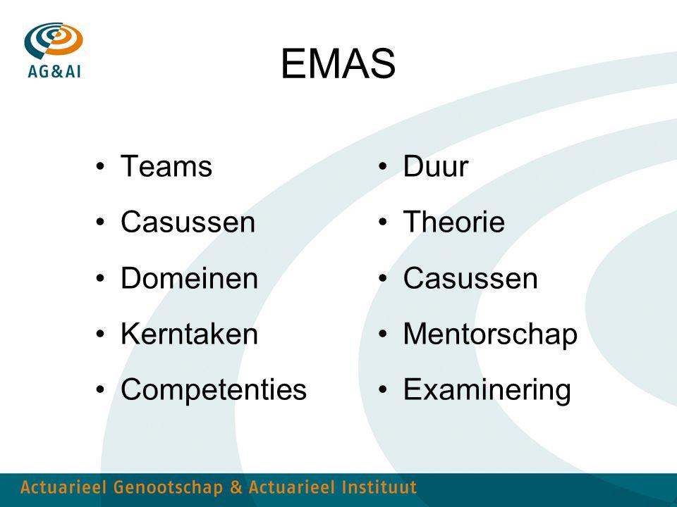 EMAS Teams Casussen Domeinen Kerntaken Competenties Duur Theorie