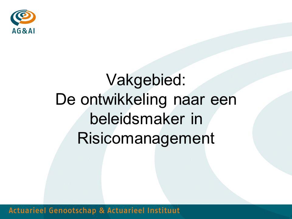 Vakgebied: De ontwikkeling naar een beleidsmaker in Risicomanagement