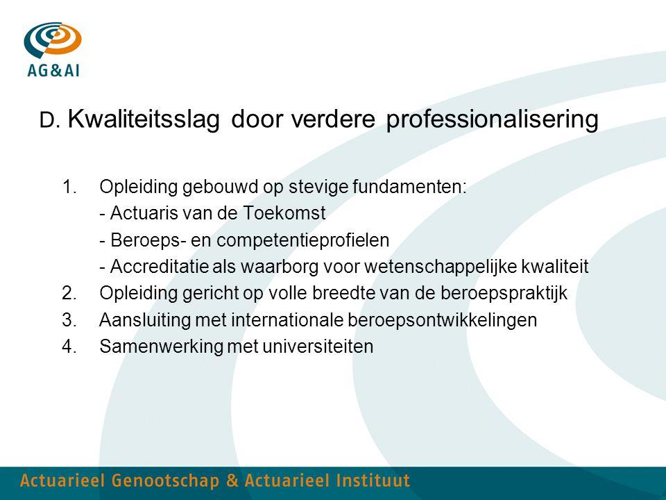 D. Kwaliteitsslag door verdere professionalisering