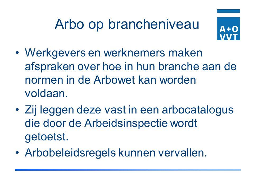 Arbo op brancheniveau Werkgevers en werknemers maken afspraken over hoe in hun branche aan de normen in de Arbowet kan worden voldaan.
