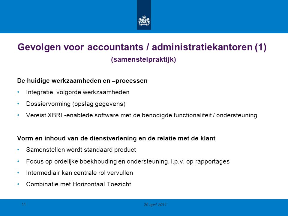 Gevolgen voor accountants / administratiekantoren (1) (samenstelpraktijk)