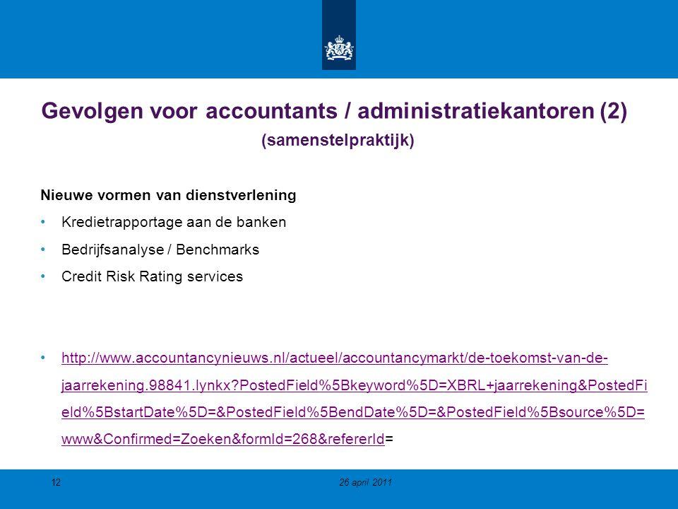 Gevolgen voor accountants / administratiekantoren (2) (samenstelpraktijk)