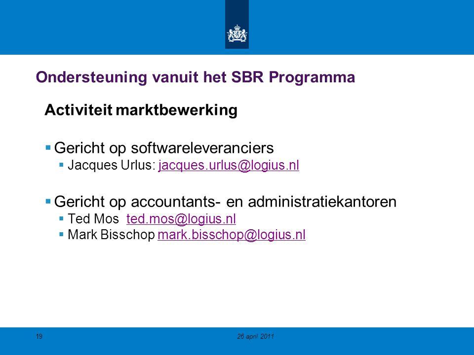 Ondersteuning vanuit het SBR Programma